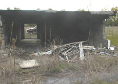 Fire damage to the old concession stand